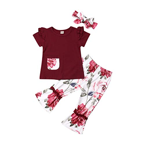 Price comparison product image Newborn Infant Baby Girl Clothes Pocket Flower Ruffle Short Sleeve T-Shirt Top+Floral Pants +Headband Outfits Set (Red,  4-5T)