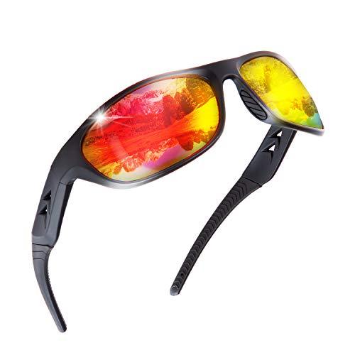 Sonnenbrille Herren Polarisiert Sport Brille - Sportbrille für Men & Damen zum Fahren Radfahren Golf Angeln Laufen Segeln Skifahren, UV400-Schutz, Leichter, langlebiger TR90-Rahmen, Hartschalen-Etui