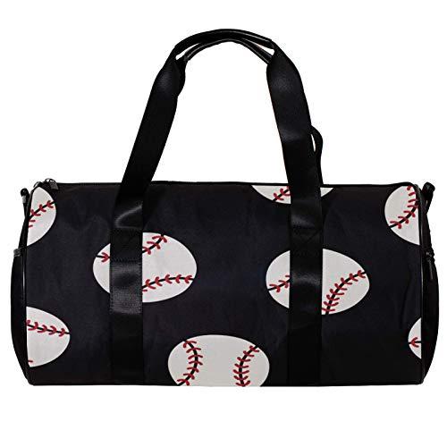 Runde Sporttasche mit abnehmbarem Schultergurt, Baseball-Training, Handtasche für Damen und Herren