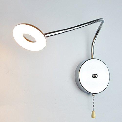 Slaapkamer Armaturen Modern leesvoer Wandlamp 40CM Hose Swing Arm 5W LED Warm/Wit Licht Energiebesparende Muur Light Bedroom Children's Room make-up spiegel Trekschakelaar Blaker Inrichting W Wandla
