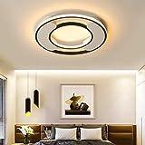 N/Z Equipo para el hogar Lámparas LED Regulables de 48W Sala de Estar Luces del Dormitorio Comedor Cocina Mesa de Comedor Luz Luminaria Lámpara Blanco y Negro Metal Redondo