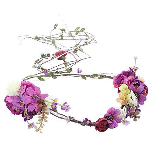 AWAYTR Boho Braut Blume Girlande Stirnband - Frauen Mädchen Einstellbare Baum Rattan Blatt Floral Haar Kranz Hochzeit Fotografie Dekoration (Lila-1)