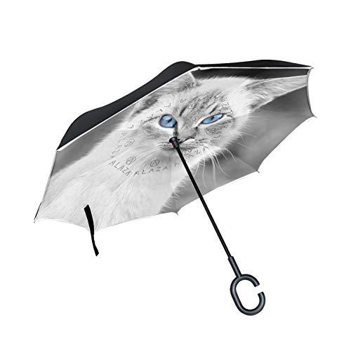Gato Blanco Gris Vintage Paraguas Invertido Doble Capa Inverso Reverso con Mango en Forma de C Paraguas de Plegado para Automóviles en Exteriores