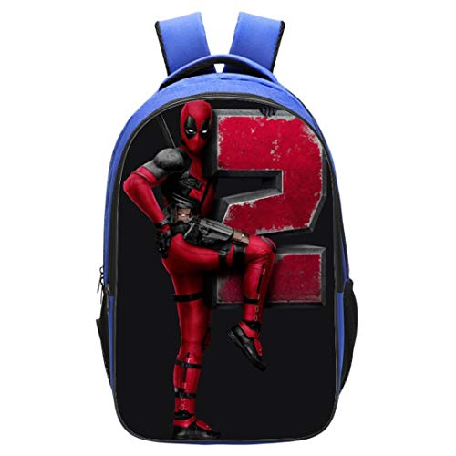 MODRYER Morral de los niños del Super héroe Deadpool 3D Imprime el Bolso de la Muchacha del Cabrito Niños Mochila Mochila Ligera Estudiantes de Primaria Paquete Almuerzo,Deadpool 02