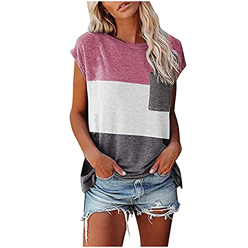 Summer Tops for Women Casual Splicing T-Shirts Short Sleeve O Neck Blouses with Pockets Fashion Tunic Tops Plus Size Pink