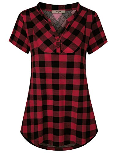 Miusey Casual Tops for Women,Misses Sexy Vneck Checkered Shirt Fit and Flare Flattering Tunic Basic Knit Empire Waist Ruched Loose Blouse Spring Semi-Thin Cozy Breathable Top Red XL