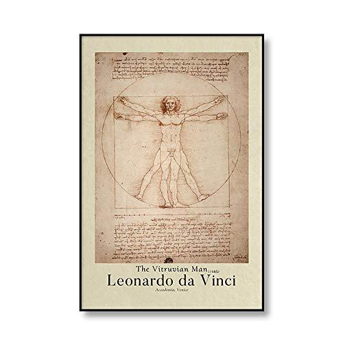 YRZYT Leonardo Da Vinci El Vitruvio ExposicióN De La Lona Decoracion Cuadros Vintage Mundo Famosos Pintura Leonardo Da Vinci Pared Arte Cuadro Retro Inicio Poster Cuadros