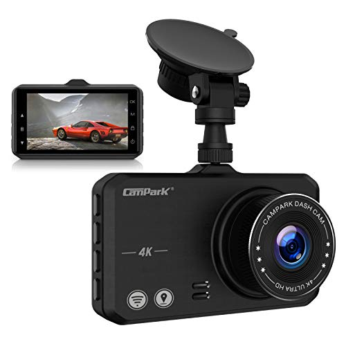 4K Dash Cam with WiFi GPS, Campark UHD 2160P Dashboard Camera for Cars with 3 Inches IPS Screen, 170° Wide Lens, Loop Recording and Night Vision