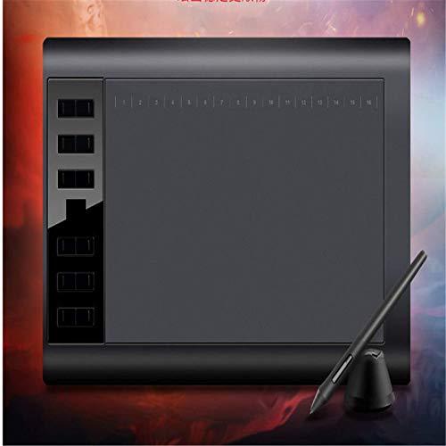 Jerseys 10 x 6 pulgadas Profesional Dibujo Gráficos 12 Tabletas Tabletas Gráficos Tabletas Dibujo Teclas Profesionales con 8192 Niveles Lápiz sin Batería/8 Piezas (Tamaño: Estándar, Color: Negro)
