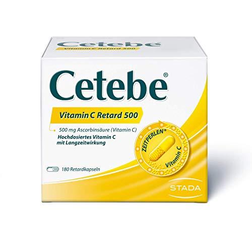 Cetebe Vitamin C Retard 500 - Arzneimittel mit hochdosiertem Vitamin C mit Langzeitwirkung- 1 x 180 Retardkapseln