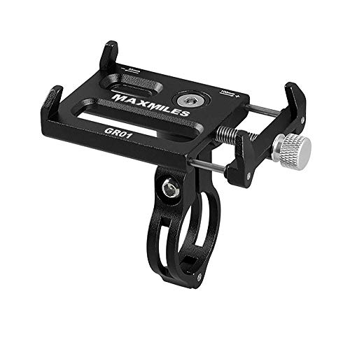 MaxMiles Motorcycle and Bicycle Cell Phone Holder Aluminum Universal Adjustable Phone Mount Smartphone Holder Bike Handlebar Cell Phone Holder for iPhone X 5 6 7 8 Plus Samsung LG (Standart Black)