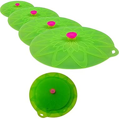 Kuke Bright Colors Silicone Suction Lids Food Covers Bowl Covers for Microwaves, Pots, Pans, Mugs and Containers (Green, 4pcs sets)