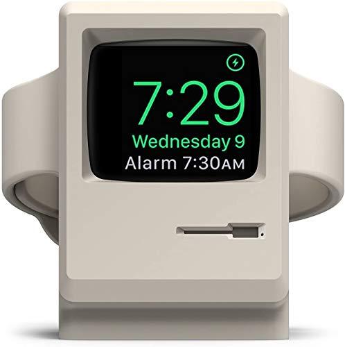 elago W3 Stand Apple Watch Ladestation Kompatibel mit Apple Watch Series 6, SE (2020) / Series 5 / 4, 3, 2, 1 / 38mm, 40mm, 42mm, 44mm - 1984 Macintosh Design, Patent Angemeldet (Klassisches Weiß)