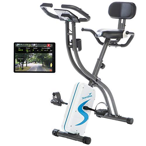 skandika Foldaway X-2000 Fitnessbike zusammenklappbar mit Bluetooth, Tablet Halterung, Rückenlehne, Multifunktionscomputer, Handpulssensoren und 16-stufiger, computergesteuerter Widerstand
