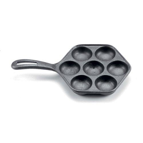 "Norpro Cast Iron Stuffed Pancake Pan, Munk/Aebleskiver, 2"" / 5cm diameter, Black"