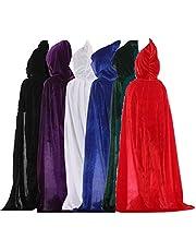 フード付き キッズ用ロングマント 110cm ベロア調 7カラー 赤・黒・青・紫・緑・グレー・白 子供用