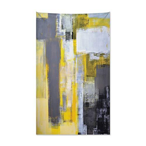 ABAKUHAUS Gelb & Grau Wandteppich & Tagesdecke, Abstraktes Gemälde aus Weiches Mikrofaser Stoff Waschbar ohne Verblassen Digitaldruck, 140 x 230 cm, Gelb Grau