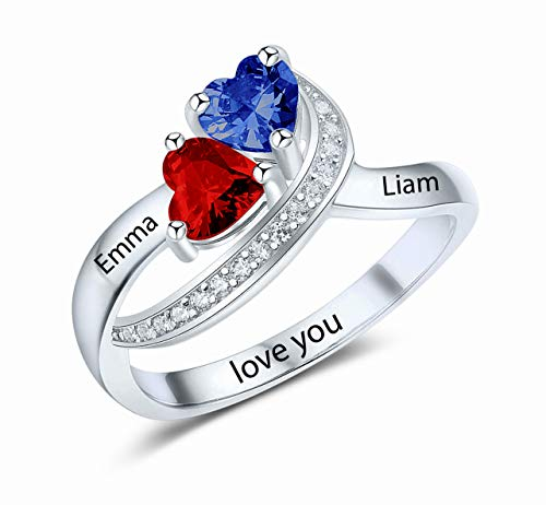Sterling Silver Personalized Birthstone ring customized engraved fine jewelry for women mothers ring (sterling-silver, 7)