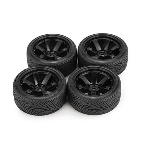 Austar Axe 4 Piezas 64 Mm llanta de plástico Duro para llanta de neumático para 1/10 RC Drift Modelo de Coche Hsp Hpi componente Piezas de Repuesto Accesorios (Negro)