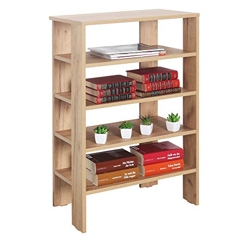 RICOO WM040-EG Estantería 88 x 60 x 32 cm Estante pequeño Librería Moderna Biblioteca Muebles de hogar Mueble almacenaje Madera Color Roble marrón