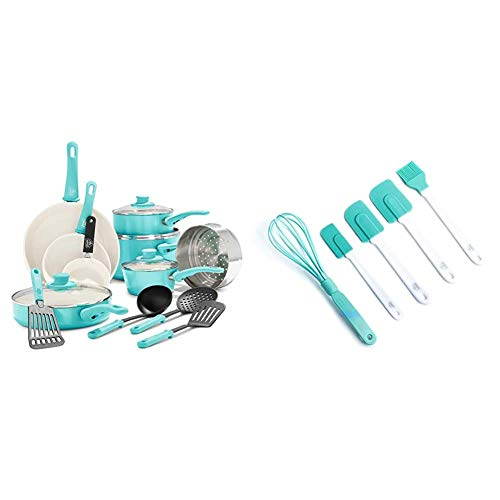 GreenLife Soft Grip Healthy Ceramic Nonstick, Cookware Pots and Pans Set, 16 Piece, Turquoise & Bakeware Healthy Ceramic Nonstick, Baking Set, 5 Piece, Turquoise