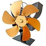 EastMetal Ventilador de Chimenea, Ventilador de Estufa 6 Cuchillas, Silencioso Ecológico Ventilador de Estufa de Leña, No Requiere Batería o Electricidad, para Estufas de Leña/Leña/Chimenea,Oro