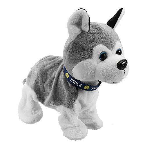 Robot Perro Creativo Electrónica Interactiva For Mascotas Relleno De La Felpa del Juguete De Control Paseo De Sonido Husky Reacciona Táctil Animación Infantil (Color : Gray, Size : 26x25cm)