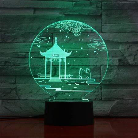 Sanzangtang Led-nachtlampje, 3D-visionzeven, kleuren-afstandsbediening, Chinese culture museum licht, werkt op batterijen, met afstandsbediening, nachtlampje, beste decoratie, nachtlampje, werkt op batterijen
