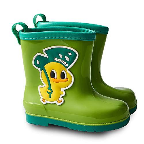 Botas De Lluvia para Niños Wellington Ultraligero Durable PVC Antideslizante Botas De Goma Impermeables Botas Niños Niñas Dibujos Animados Casual Al Aire Libre(Color:Verde,Size:30 EU)