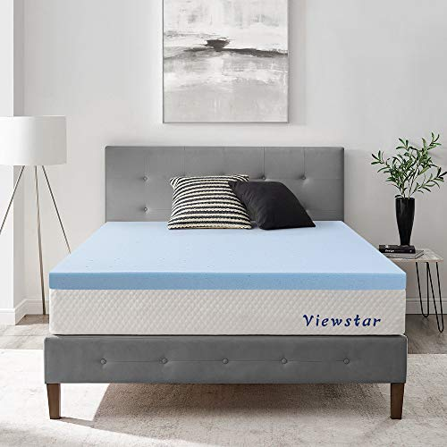 viewstar Memory Foam Mattress Topper Queen, 3 Inch Cooling Gel Infused Memory Foam Mattress Topper for Back Pain, Thick and Soft Ventilated Design, CertiPUR-US Certified (59 x 79 x3 inch)