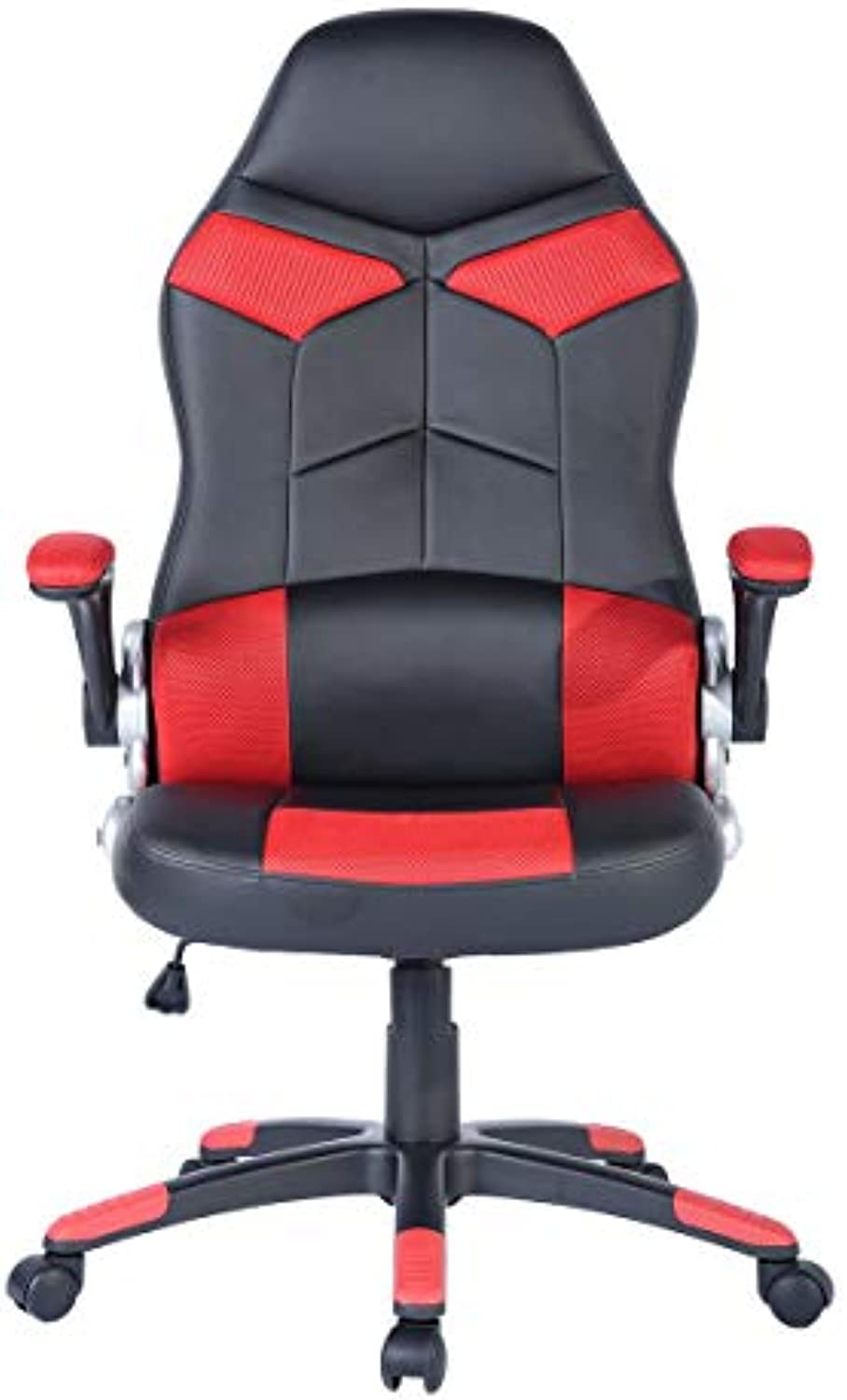 Ergonomic High-Back Home Office Chair, Footrest Support (Red)