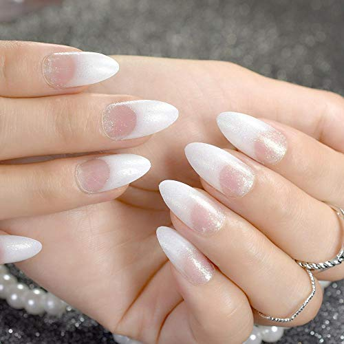 CLOAAE White Clear French White False Nails With Pointy Glitter False Nails DIY Manicure Tips Nail