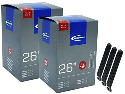 pneugo! Schwalbe Sclaverand 54-559/75-559 SV13F - Cámara de aire para bicicleta (2 unidades, 26', incluye 3 desmontadores de neumáticos)