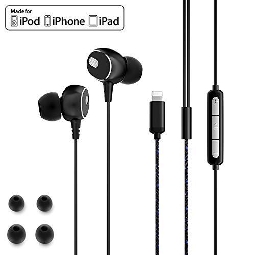 Dairle Auriculares Lightning MFiCertificado in Ear Headphones con Cable y Micrófono Micrófono Sonido Estéreo Earpods Lightning Compatible con iPhone XS MAX, XR, X, 8 Plus, 7 Plus