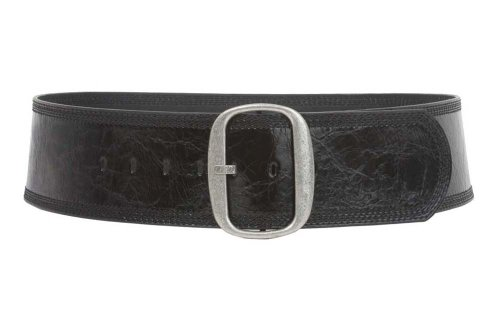 "Women's 3"" (75 mm) Wide Oval Tone-on-tone Stitching Edged Contour Belt, Black 