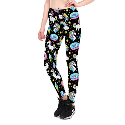 Qiuaii Damen-Leggings, mehrfarbig, Totem-Druck, für Sport, Yoga, hohe Taille, Stretch-Hose Gr. S, Weißes Drachenpferd