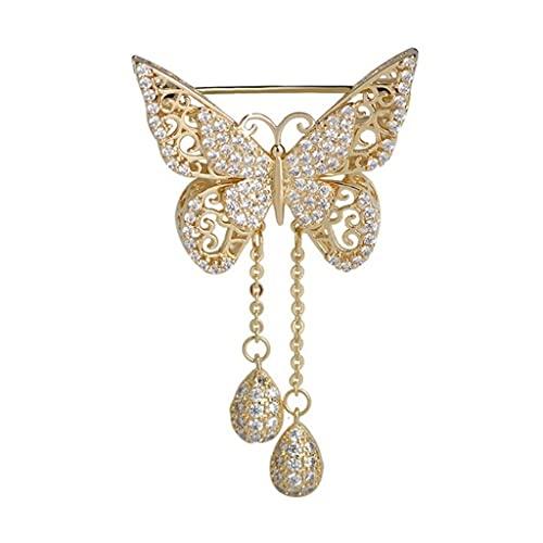 DAGONGREN Mujer delicada mariposa broche tassel clásico boda banquete decoración corsage broche (Color : Gold)