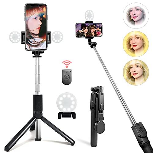 自撮り棒 LEDライト付き Bluetooth セルカ棒 軽量 無線 三脚/一脚兼用 360度回転 リモコン付き 無線 5段伸縮 折りたたみ 持ち運びに便利 iPhone/Android スマホ対応 自撮り補光 gopro YouTube生放送 ビデオカメラ撮影用 日本語説明書付き (iPhone 11 Pro Max/Xs Max/Xs/Xr/X/Se/11/8/8P/7/7P/6S/6, Galaxy S20/10/9/8/7/6等対応)