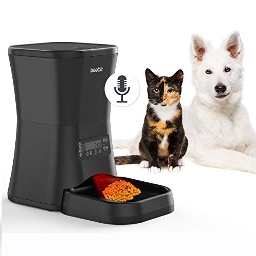 Iseebiz Automatic Pet Feeder, 7L Dogs Cats Food Dispenser 4 Meals a Day with Voice Record Remind, Timer Programmable, Portion Control, Distribution Alarm, IR Detect, for Medium and Large Dogs Cats Pet