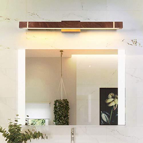 Moderno specchio da tavolo in noce, ottone, lampada da trucco a LED, 3 colori di temperatura regolabile, illuminazione creativa per camera da letto comodino da parete impermeabile, 60 cm / 12 W