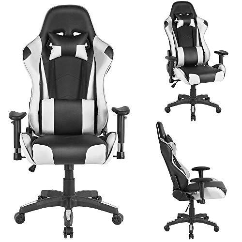 XUANYU Gaming-Stuhl mit Verstellbare Rückenlehne, Verstellbare Armlehnenund und 360 ° Drehbarer Chefsessel Bürostuhl Ergonomischer Stuhl, 4 Farbvarianten (Schwarz-weiß)