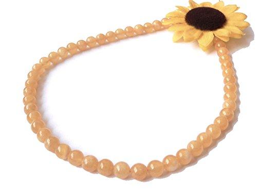 Orangencalcit Edelstein Kugel Kette Halskette Collier Größe 45 cm