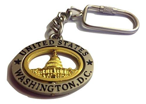 Washington D.C. Keychain - Pewter Gold Oval, Washington DC Keychains, Washington D.C. Souvenirs, WDC Gifts (Capitol)