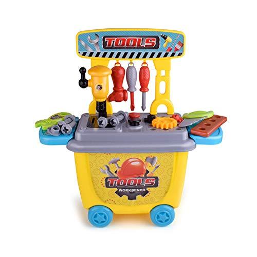 dontdo Juguetes educativos de la casa del juego de los niños, kit de taladro realista, caja de herramientas de la maleta de los niños simulan el juego de manitas educativo de la caja de herramientas