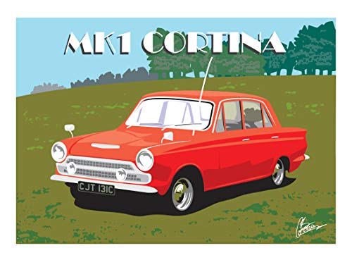 Ford Cortina Mk.1 Classic British Car Sportscar Art Deco Style Birthday Card