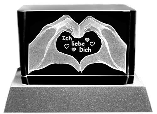 Kaltner Präsente Stimmungslicht - Ein ganz besonderes Geschenk: LED Kerze/Kristall Glasblock / 3D-Laser-Gravur Motiv Herz Hände/Ich liebe Dich