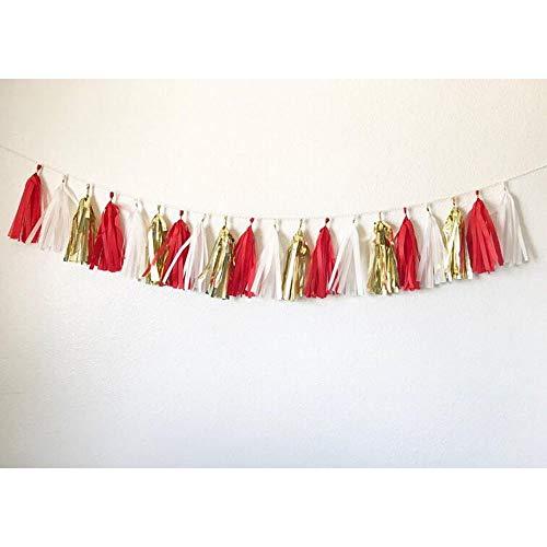 15pcs 14inch Tassel Garland Tassel Banner Red, White, and Gold Tassel Garland for Weddings, Baby Shower, Bridal Shower, Birthday, Graduation Party, Nursery Decoration