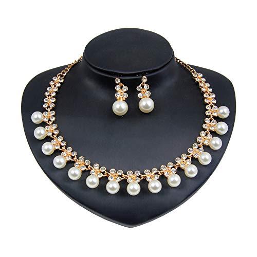 Yddxy Conjunto de Pendientes de Collar de Perlas para Mujer Conjunto de joyería de aleación de Diamantes de imitación chapados en Oro de Boda de Moda (Pendiente + Collar),Oro