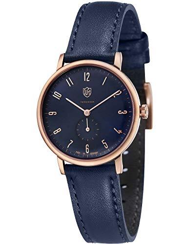 DuFa Damen Analog Quarz Smart Watch Armbanduhr mit Leder Armband DF-7001-0F