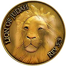Lion of Judah, Man of God, Be Strong and Courageous, Antique Gold Plated, Challenge Coin, Joshua 1:9